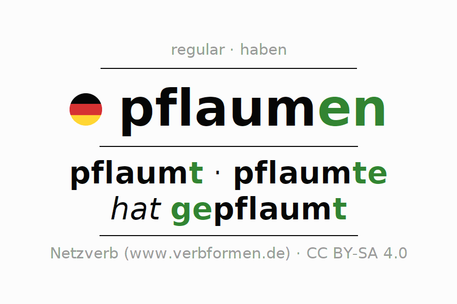 Entire conjugation of the German verb pflaumen. All tenses and modes are clearly represented in a table.