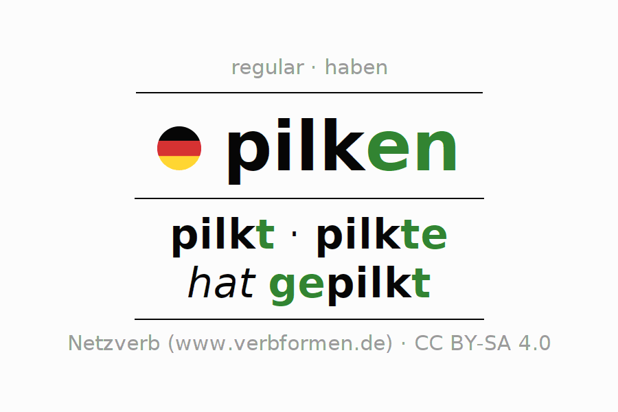 Entire conjugation of the German verb pilken. All tenses and modes are clearly represented in a table.