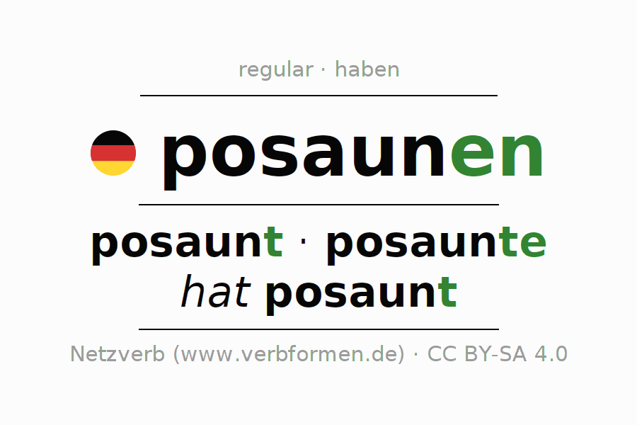 Entire conjugation of the German verb posaunen. All tenses and modes are clearly represented in a table.