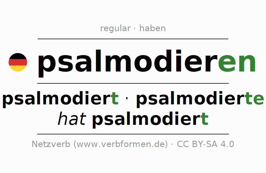 Entire conjugation of the German verb psalmodieren. All tenses and modes are clearly represented in a table.