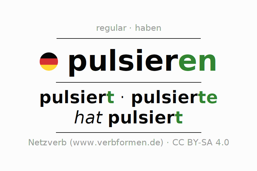 Entire conjugation of the German verb pulsieren. All tenses are clearly represented in a table.