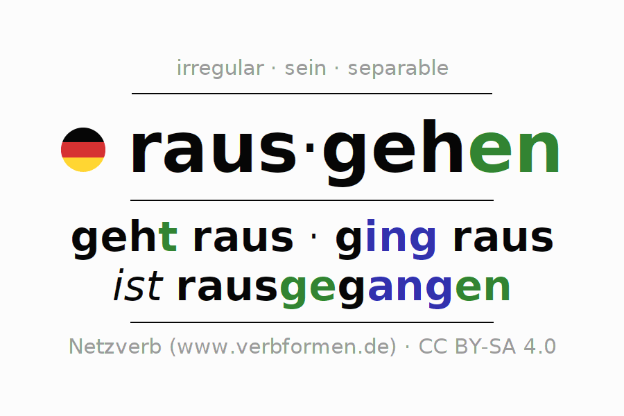 Entire conjugation of the German verb rausgehen. All tenses are clearly represented in a table.
