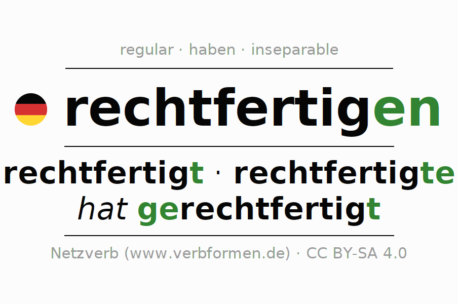 Entire conjugation of the German verb rechtfertigen. All tenses are clearly represented in a table.