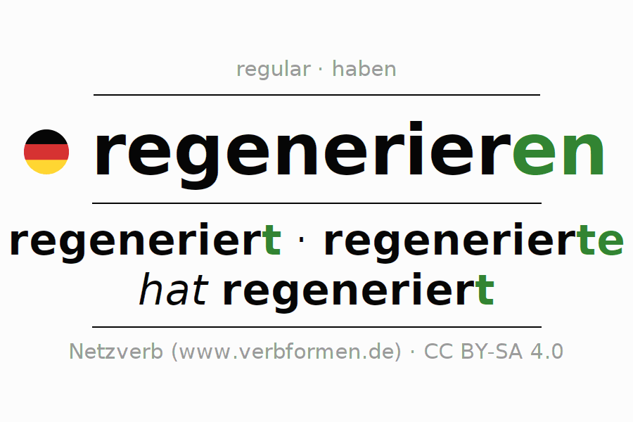 Entire conjugation of the German verb regenerieren. All tenses and modes are clearly represented in a table.