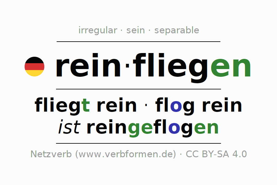 Entire conjugation of the German verb reinfliegen. All tenses and modes are clearly represented in a table.