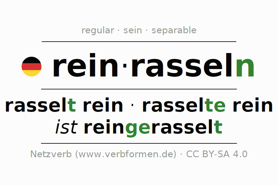 Entire conjugation of the German verb reinrasseln. All tenses are clearly represented in a table.