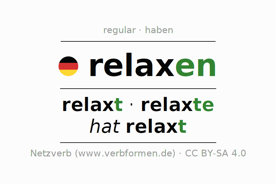 Entire conjugation of the German verb relaxen. All tenses and modes are clearly represented in a table.