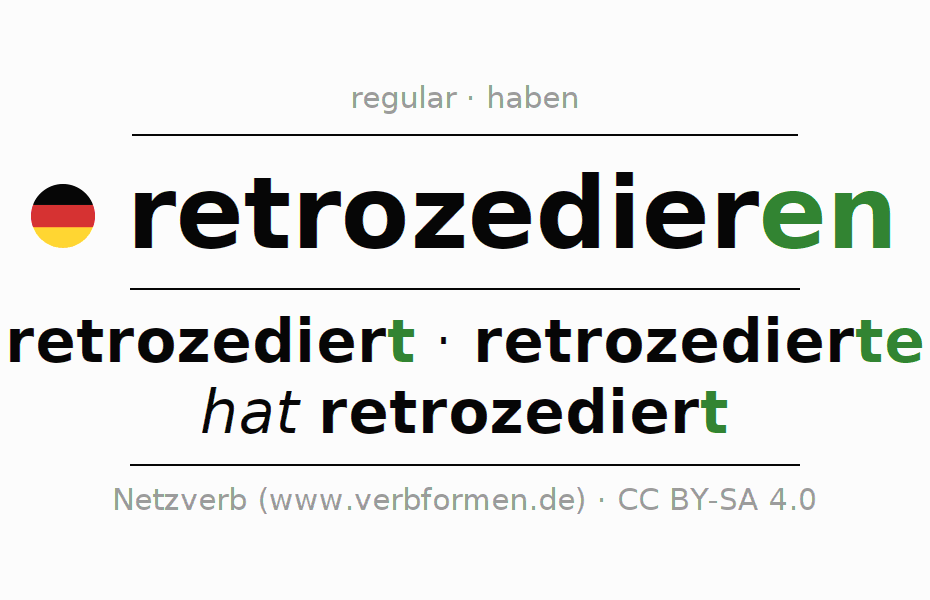 Entire conjugation of the German verb retrozedieren. All tenses and modes are clearly represented in a table.