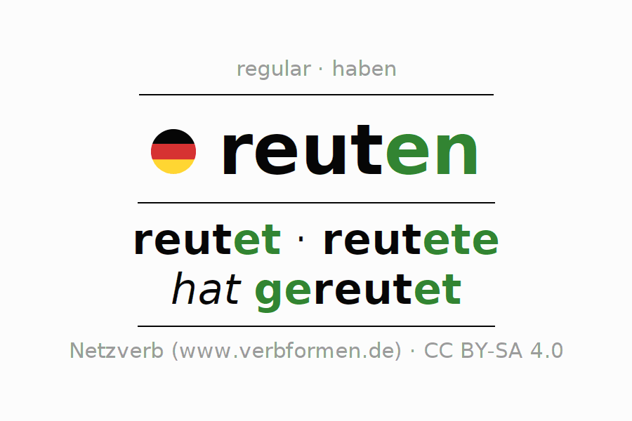 Entire conjugation of the German verb reuten. All tenses are clearly represented in a table.