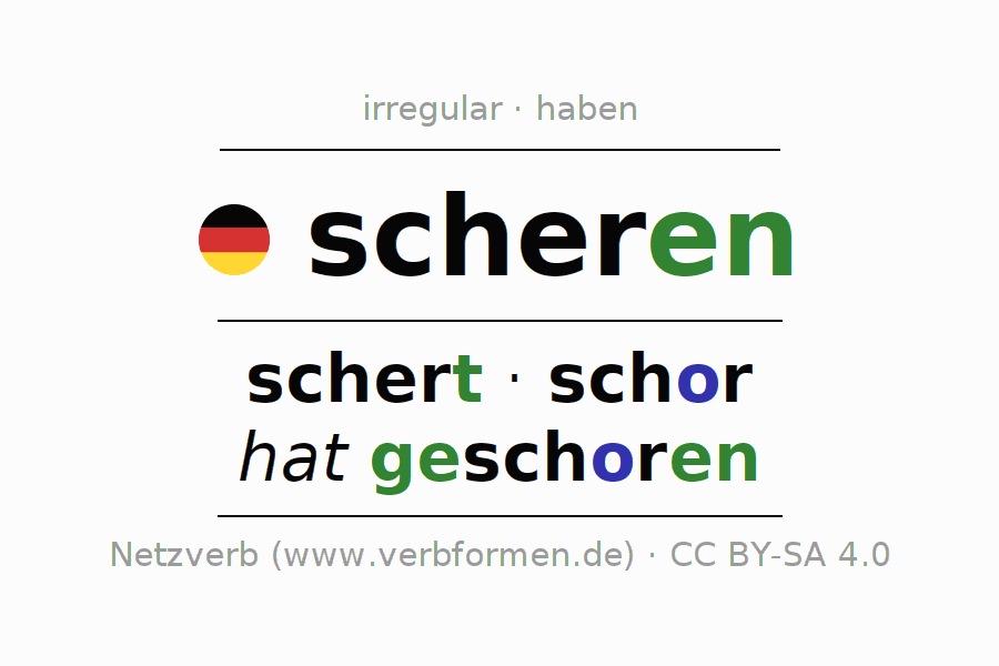 Entire conjugation of the German verb scheren (unr) (hat). All tenses are clearly represented in a table.