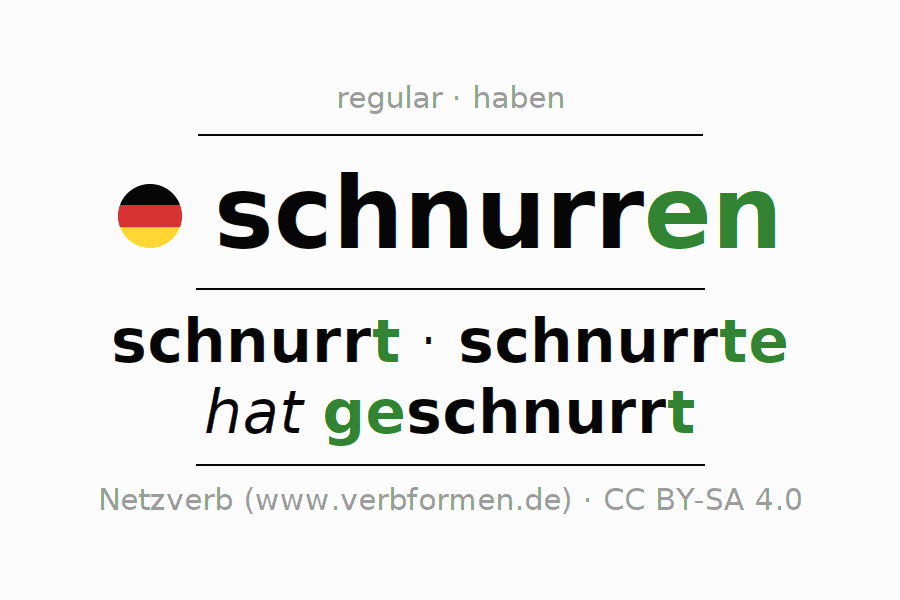 Entire conjugation of the German verb schnurren (hat). All tenses are clearly represented in a table.