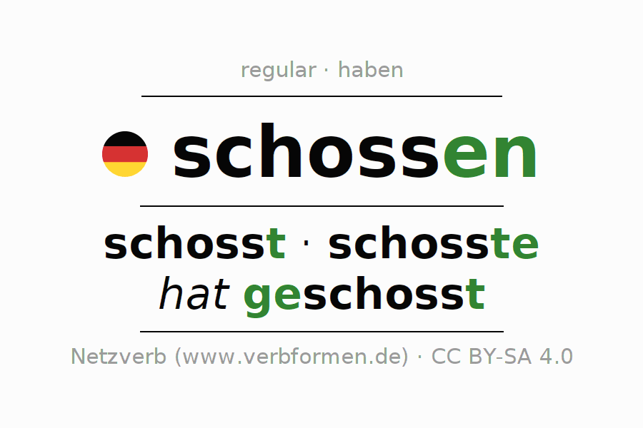 Entire conjugation of the German verb schossen. All tenses are clearly represented in a table.