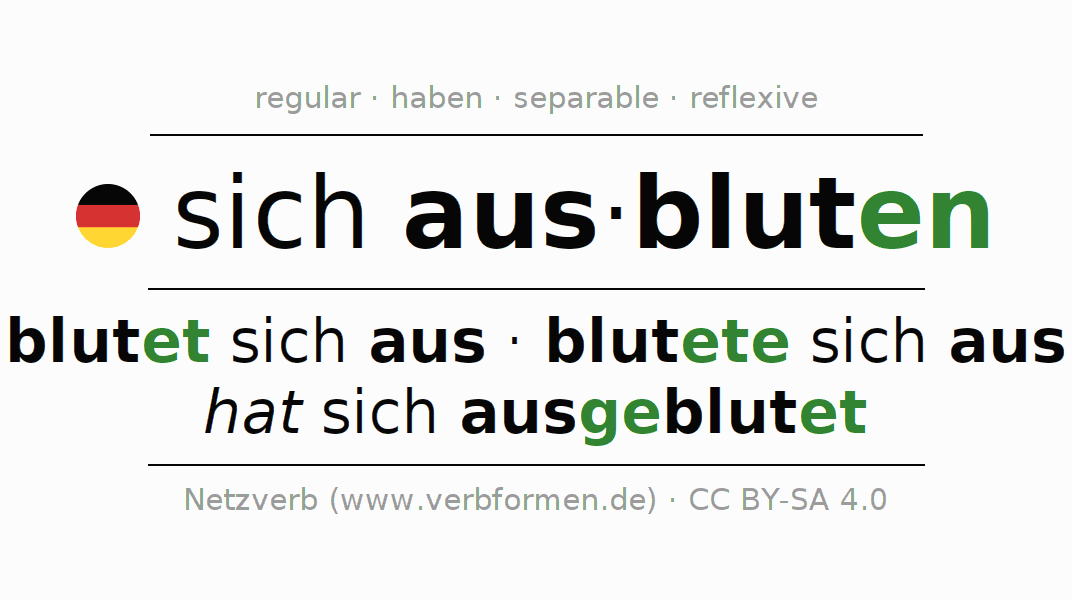 Entire conjugation of the German verb ausbluten (hat). All tenses are clearly represented in a table.