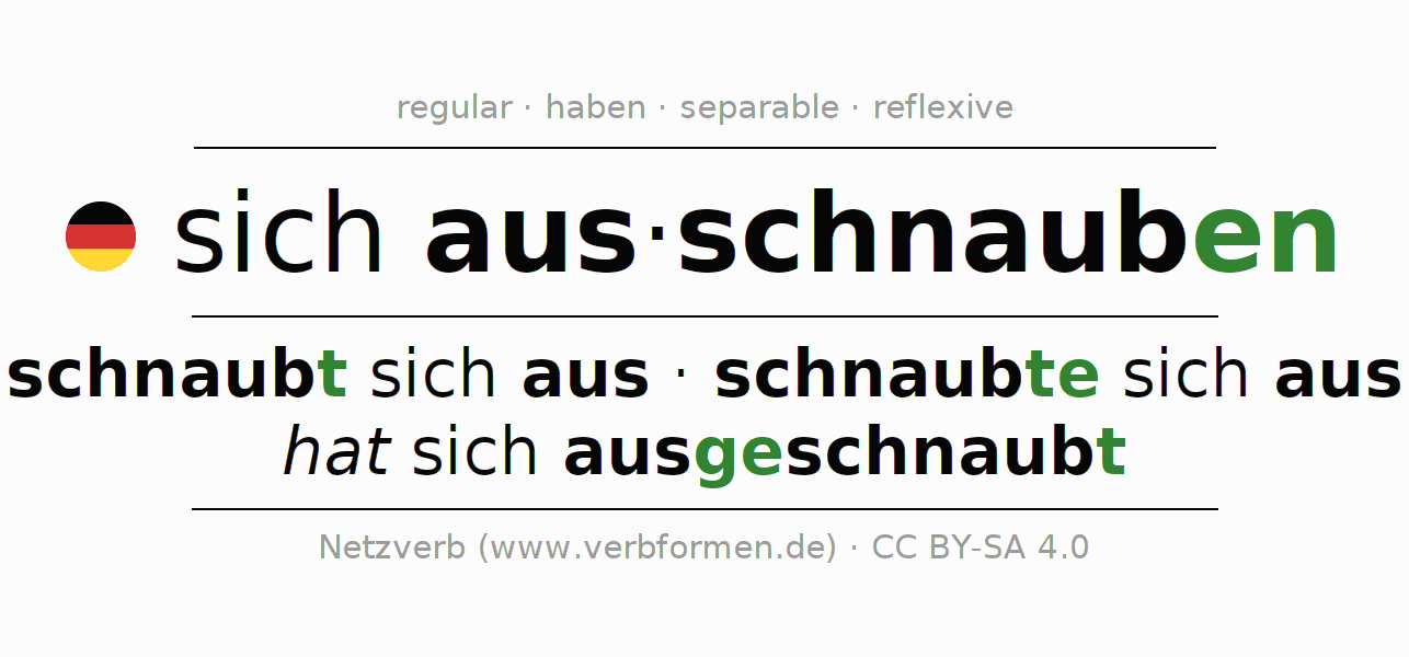 Entire conjugation of the German verb sich ausschnauben (regelm). All tenses and modes are clearly represented in a table.