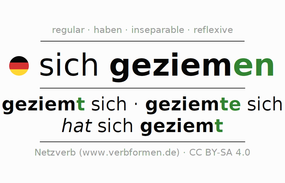Conjugation of German verb sich geziemen