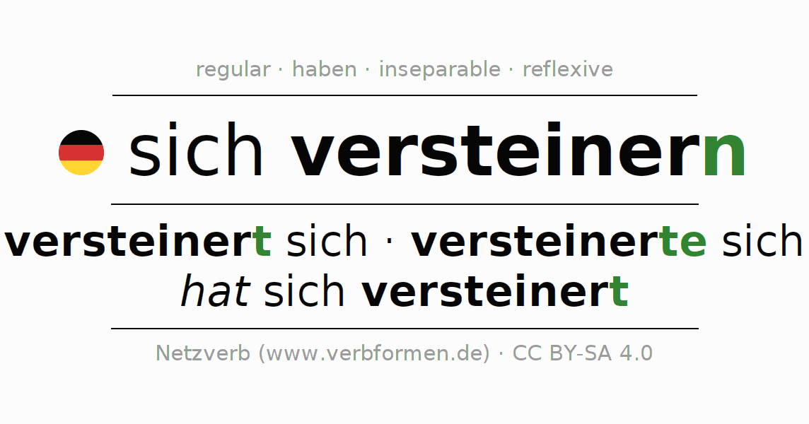 Entire conjugation of the German verb sich versteinern (hat). All tenses and modes are clearly represented in a table.