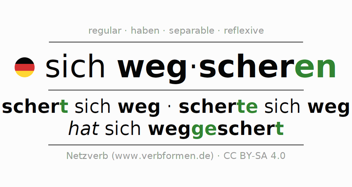 Conjugation of German verb sich wegscheren