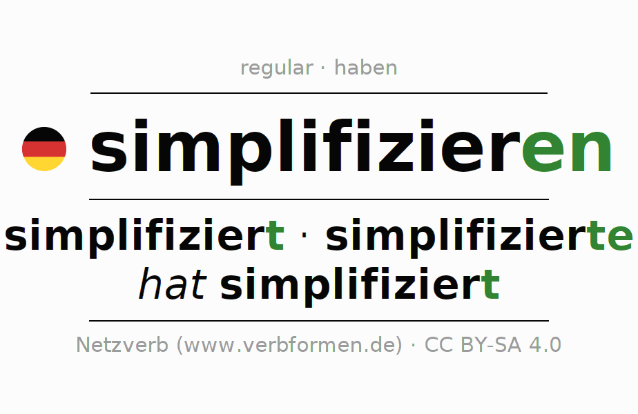 Conjugation of German verb simplifizieren