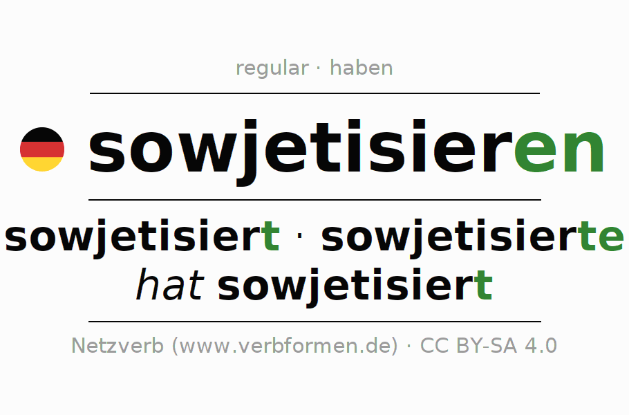 Entire conjugation of the German verb sowjetisieren. All tenses are clearly represented in a table.
