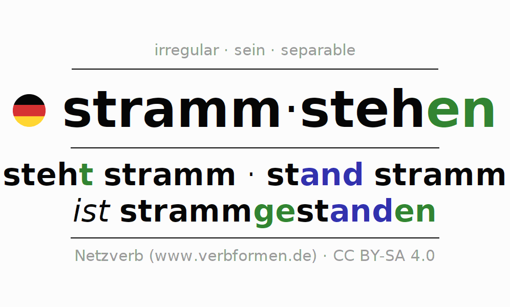 Entire conjugation of the German verb strammstehen (ist). All tenses are clearly represented in a table.