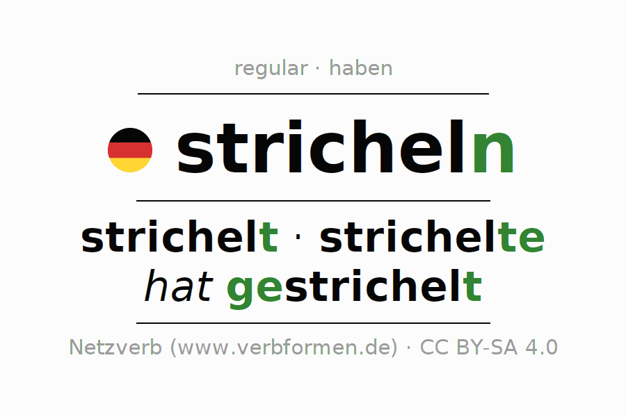 Entire conjugation of the German verb stricheln. All tenses are clearly represented in a table.