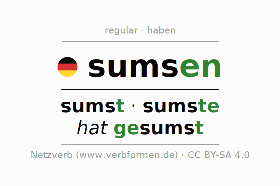 Entire conjugation of the German verb sumsen (hat). All tenses are clearly represented in a table.