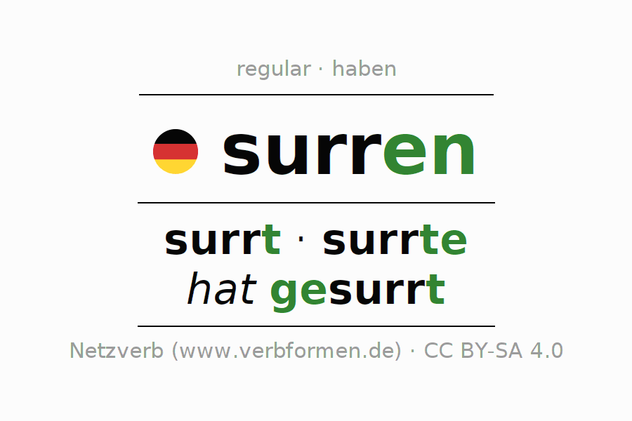 Conjugation of verb surren (hat)