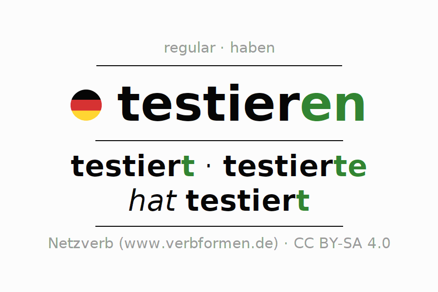 Conjugation of German verb testieren