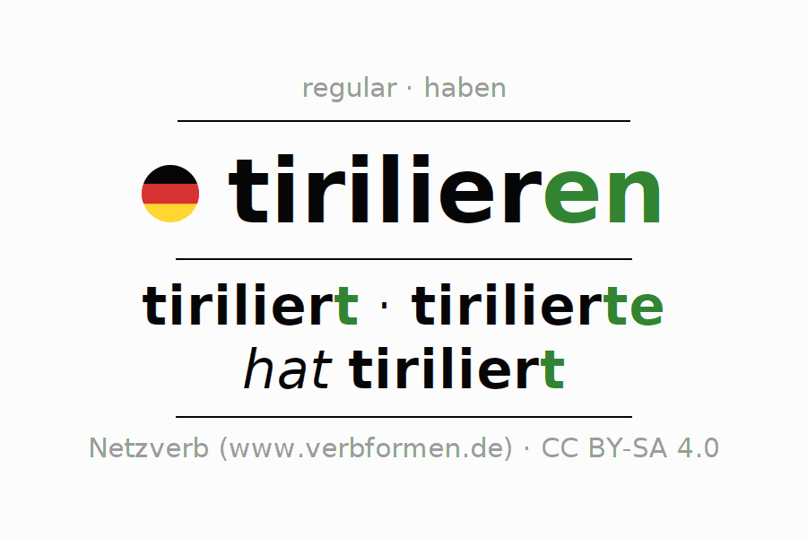 Entire conjugation of the German verb tirilieren. All tenses and modes are clearly represented in a table.