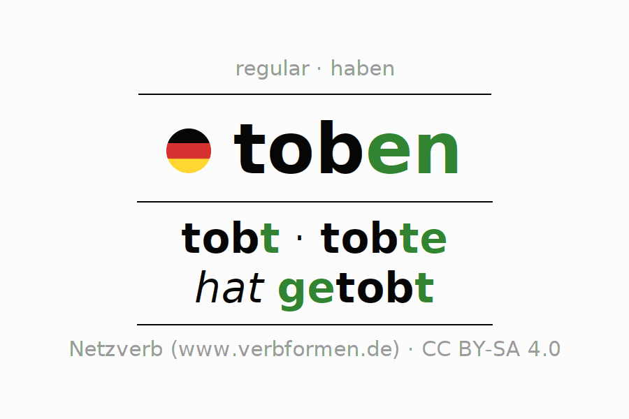 Conjugation of German verb toben (hat)