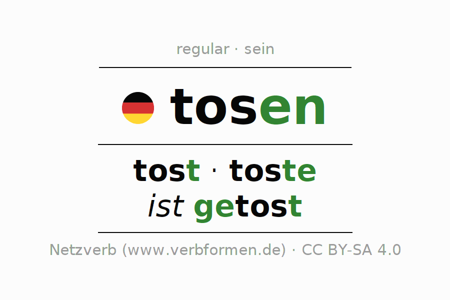 Entire conjugation of the German verb tosen (ist). All tenses are clearly represented in a table.