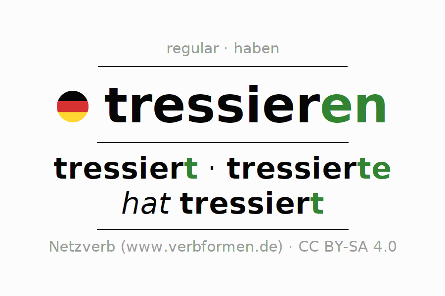Entire conjugation of the German verb tressieren. All tenses and modes are clearly represented in a table.
