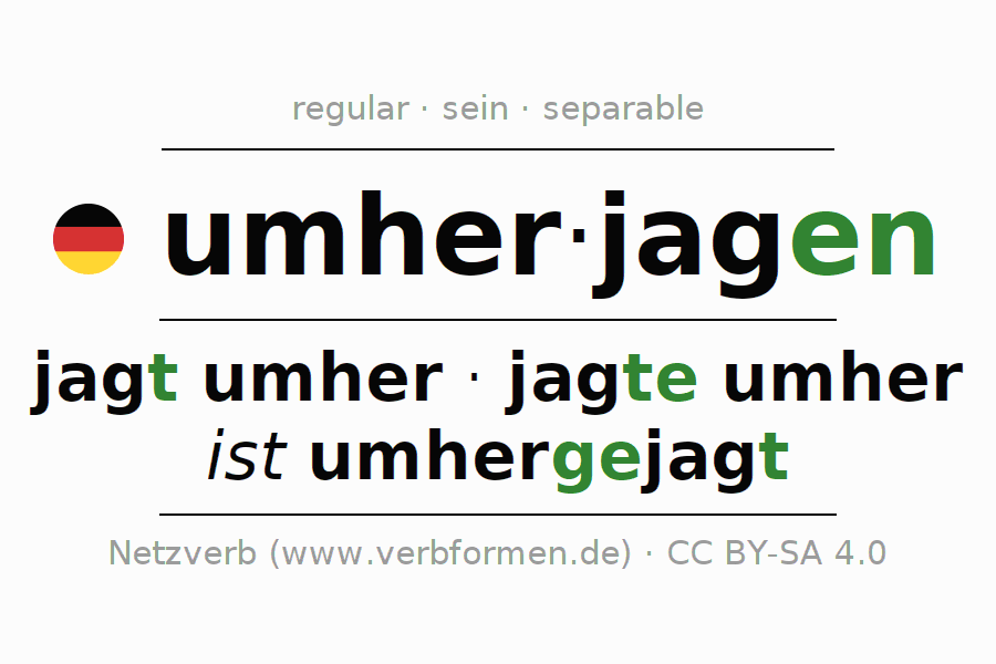 Conjugation of German verb umherjagen (ist)