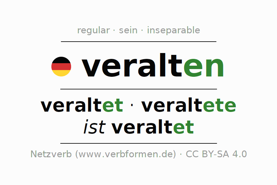 Entire conjugation of the German verb veralten. All tenses and modes are clearly represented in a table.