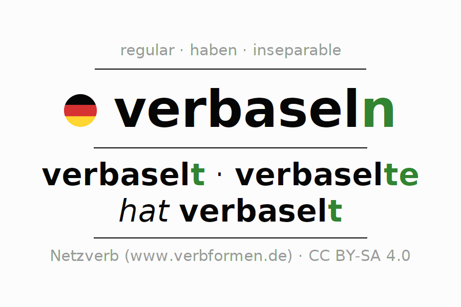 Entire conjugation of the German verb verbaseln. All tenses and modes are clearly represented in a table.