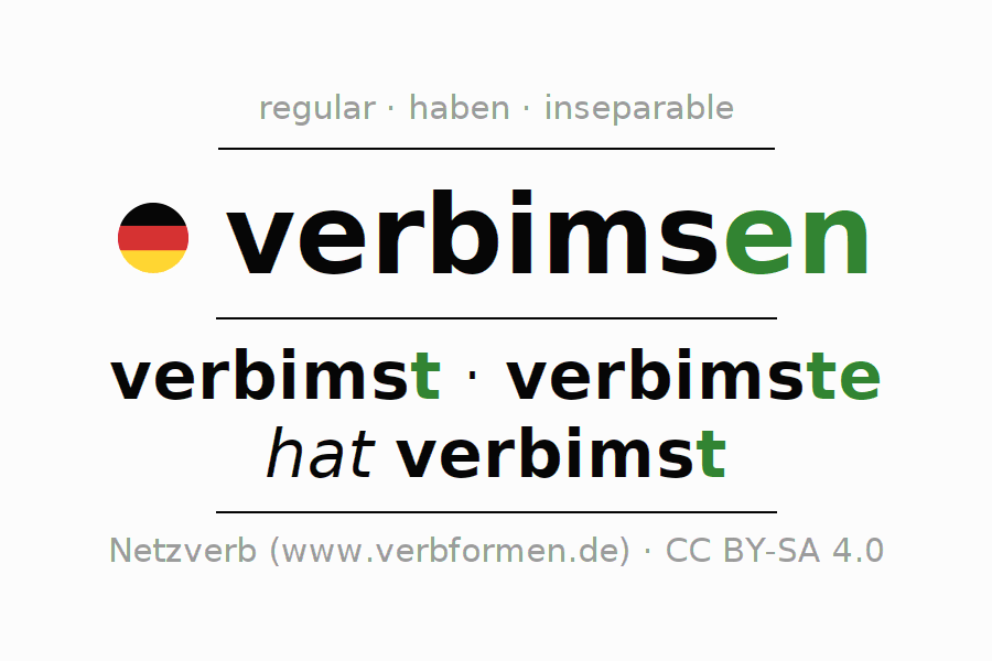 Entire conjugation of the German verb verbimsen. All tenses and modes are clearly represented in a table.