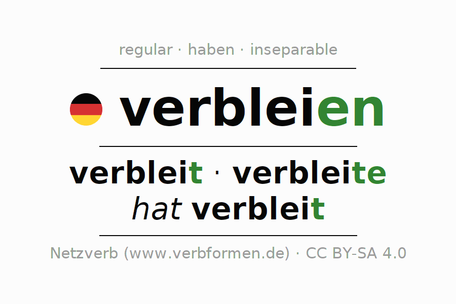 Entire conjugation of the German verb verbleien. All tenses are clearly represented in a table.