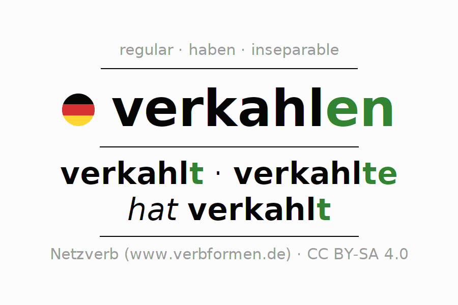 Entire conjugation of the German verb verkahlen (ist). All tenses and modes are clearly represented in a table.