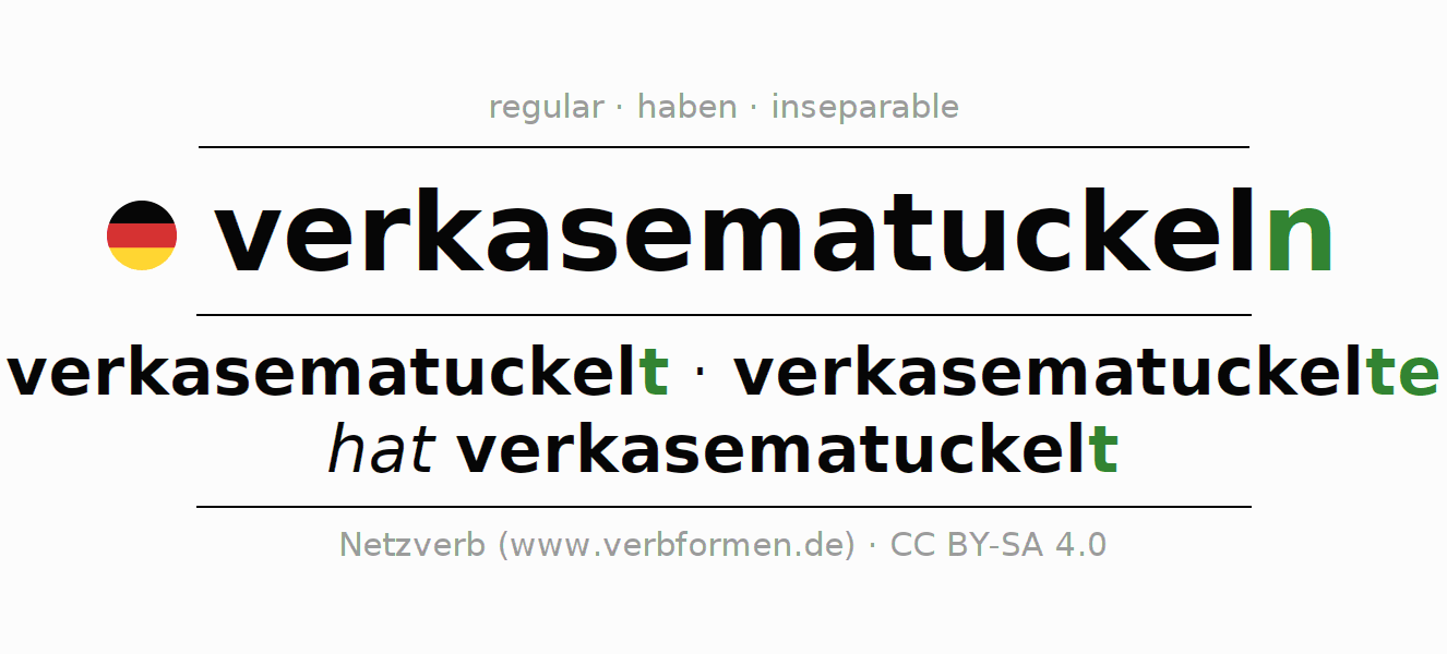 Conjugation of German verb verkasematuckeln