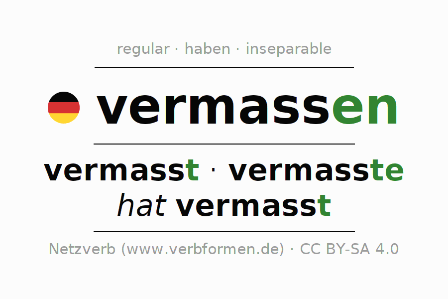 Entire conjugation of the German verb vermassen (ist). All tenses and modes are clearly represented in a table.