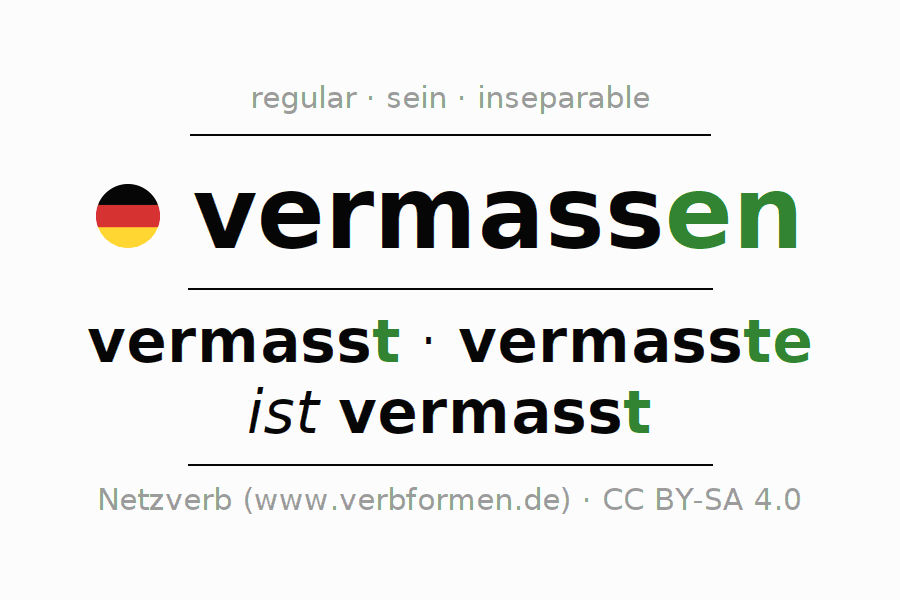 Conjugation of German verb vermassen (ist)