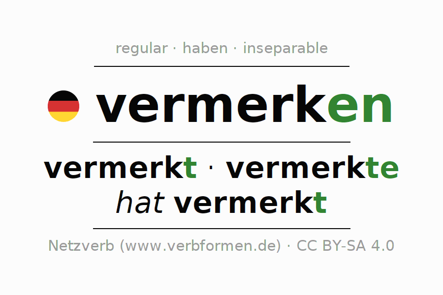 Conjugation of German verb vermerken