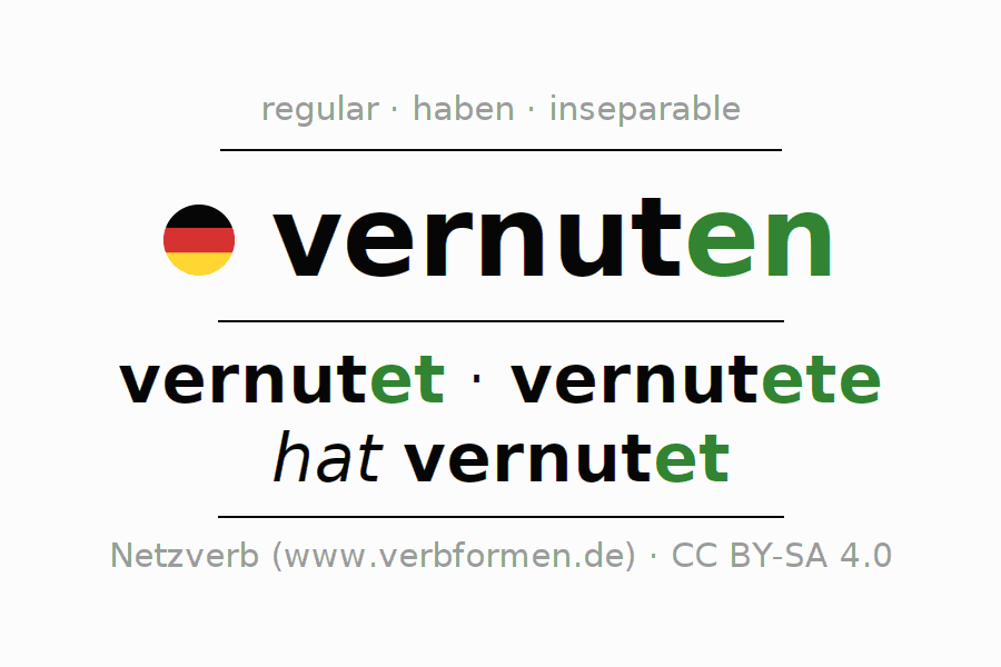 Entire conjugation of the German verb vernuten. All tenses and modes are clearly represented in a table.
