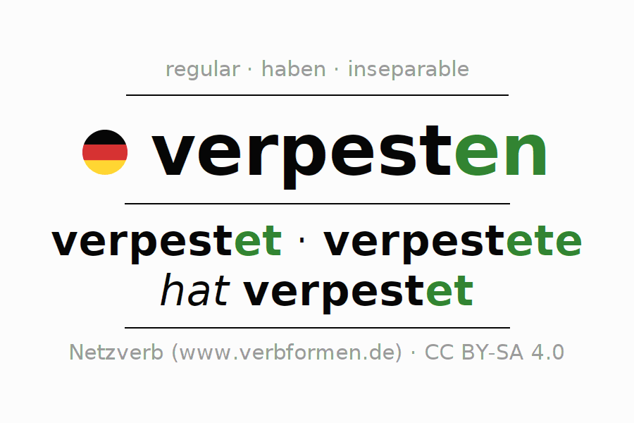 Entire conjugation of the German verb verpesten. All tenses and modes are clearly represented in a table.