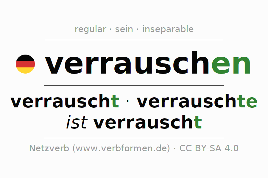 Entire conjugation of the German verb verrauschen. All tenses are clearly represented in a table.
