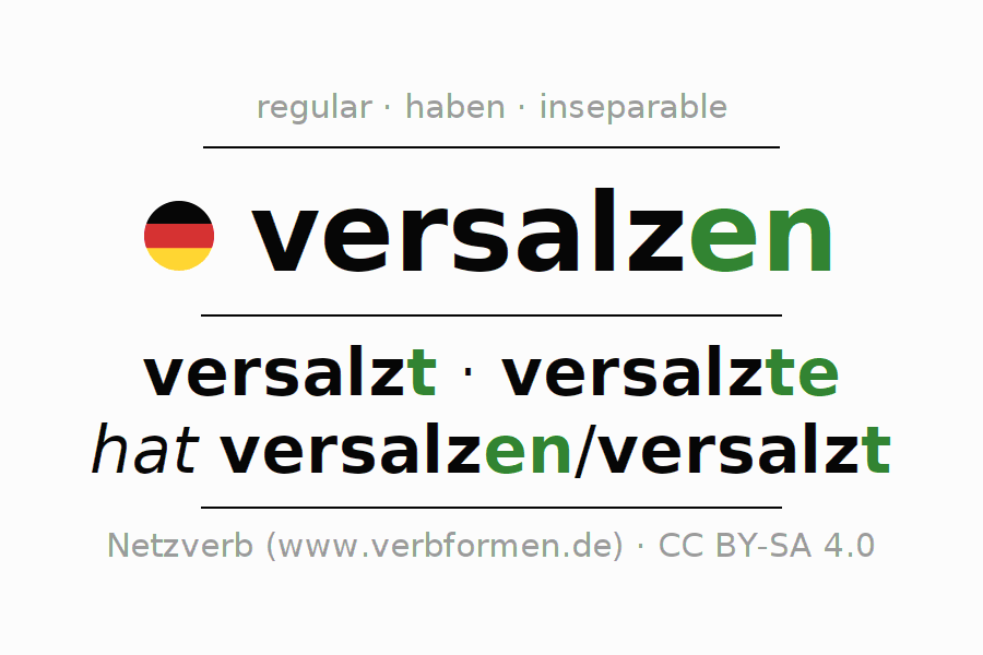 Entire conjugation of the German verb versalzen (hat). All tenses are clearly represented in a table.