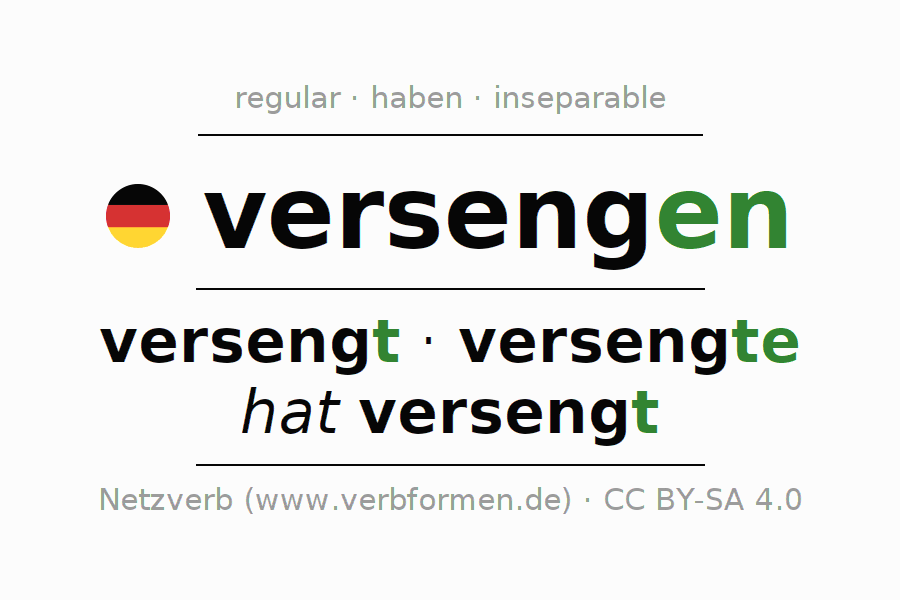 Entire conjugation of the German verb versengen. All tenses are clearly represented in a table.