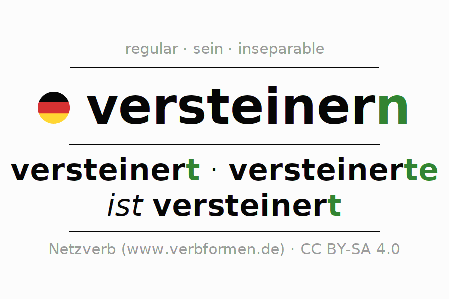 Entire conjugation of the German verb versteinern (ist). All tenses are clearly represented in a table.