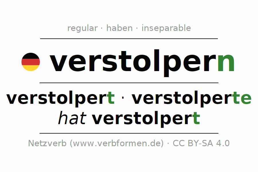 Conjugation of German verb verstolpern