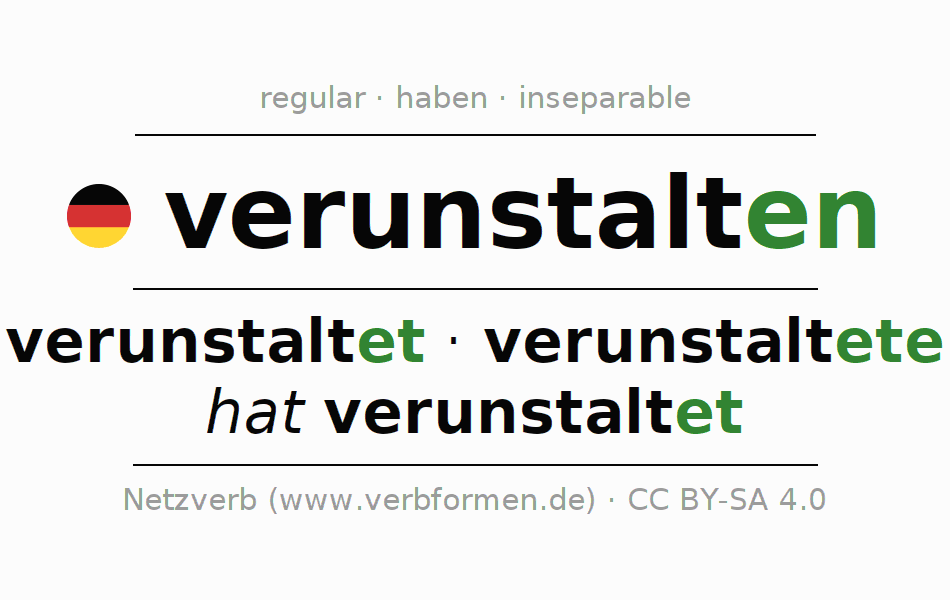 Entire conjugation of the German verb verunstalten. All tenses are clearly represented in a table.